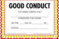Award Certificate Good Conduct Stock Vector – Illustration with Good Conduct Certificate Template