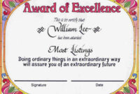 Award Certificates | Award Of Excellence Certificate Award for Certificate Templates For School