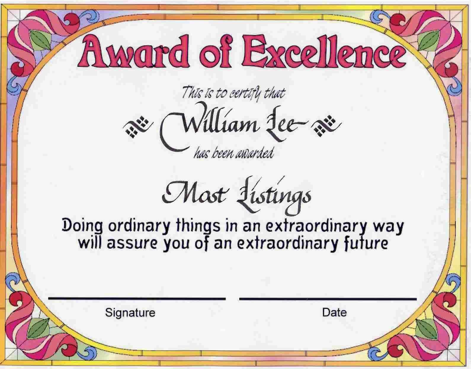 Award Certificates | Award Of Excellence Certificate Award for Certificate Templates For School