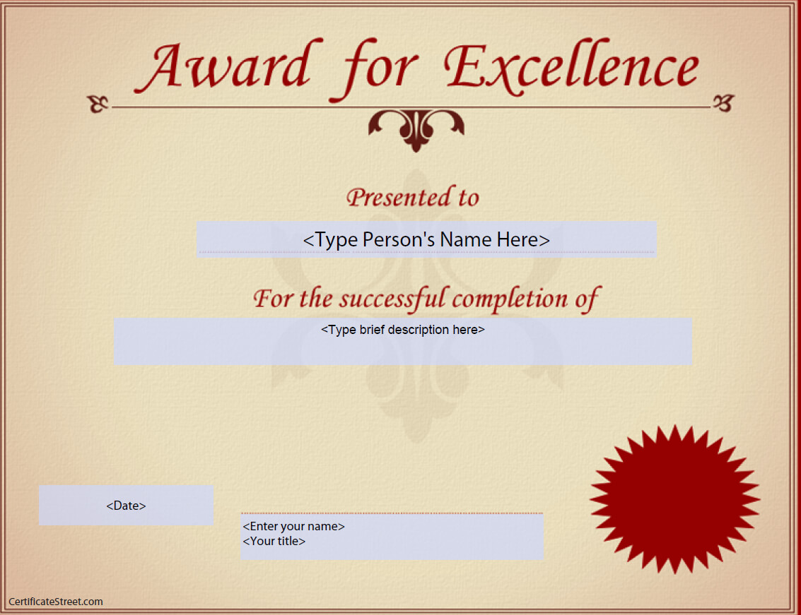 Award For Excellence Certificate   Templates At with regard to Award Of Excellence Certificate Template
