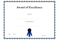 Award Template Certificate Borders | Award Of Excellenceis with regard to Award Certificate Border Template