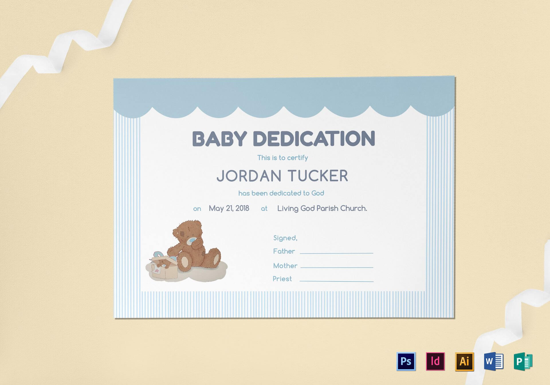 Baby Dedication Certificate Template For Baby Dedication Certificate Template