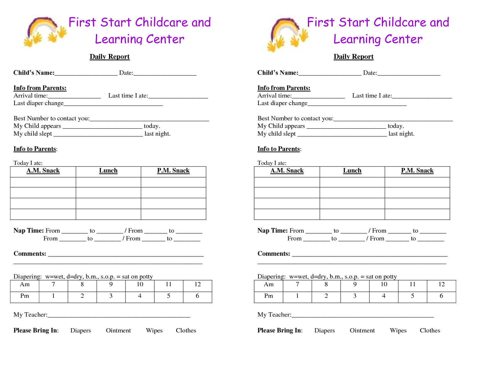 Baby Log Forms - Google Search | Daycare Forms | Infant with regard to Daycare Infant Daily Report Template