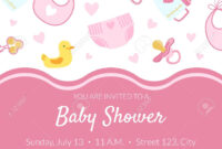 Baby Shower Invitation Banner Template, Pink Card With Newborn.. inside Baby Shower Banner Template
