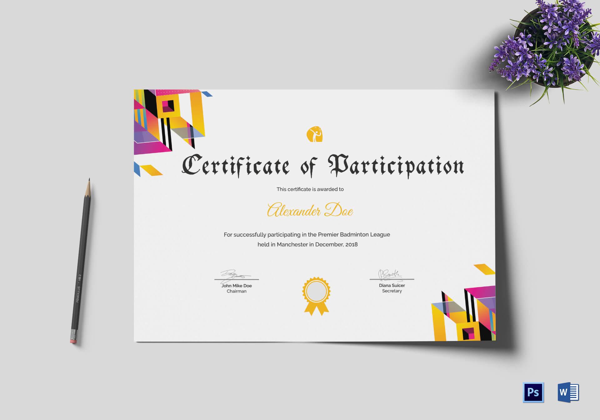 Badminton Participation Certificate Template inside Templates For Certificates Of Participation