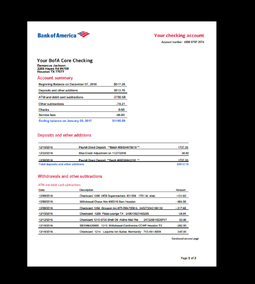 Bank, Statement, Bank America, Template, Income, Earnings regarding Blank Bank Statement Template Download
