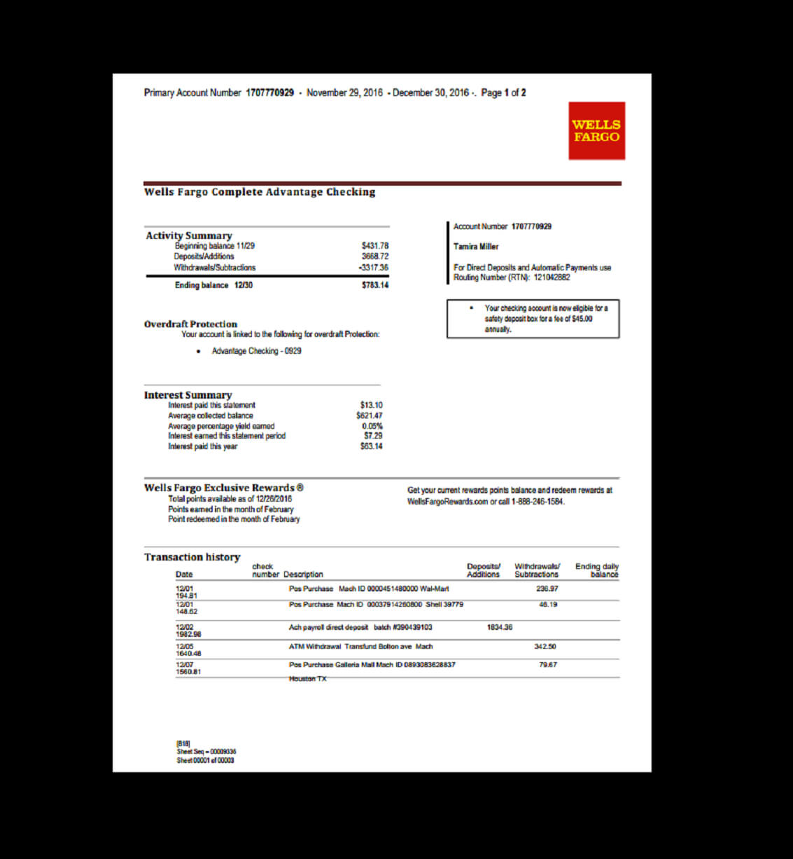 Bank, Statement, Wells Fargo Template, Fake, Custom with regard to Credit Card Statement Template