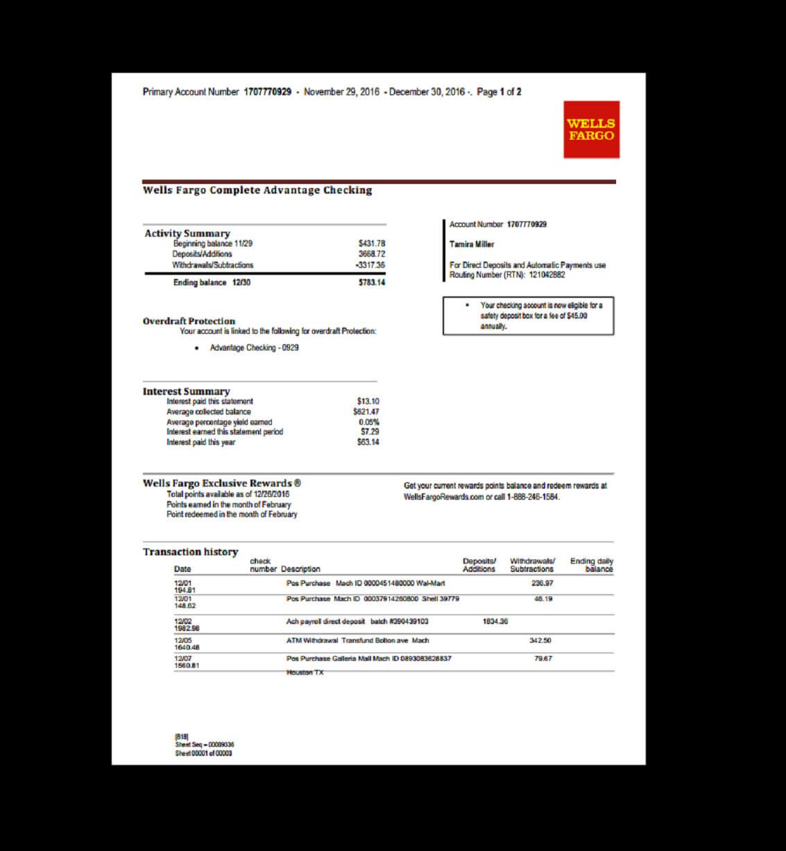 Bank, Statement, Wells Fargo Template, Fake, Custom within Blank Bank Statement Template Download