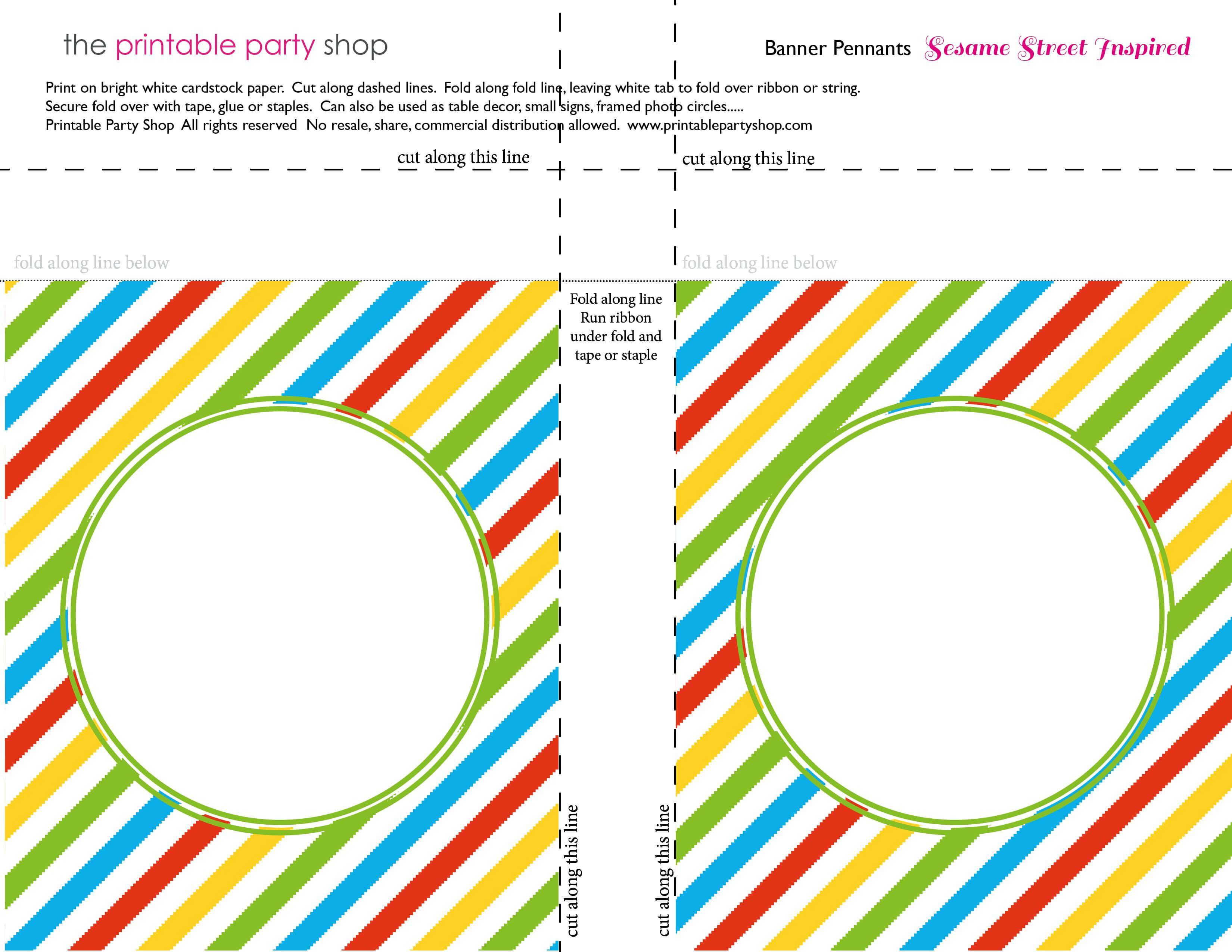 Banner Squares Stripes Sesame Street Printablepartyshop In Staples Banner Template