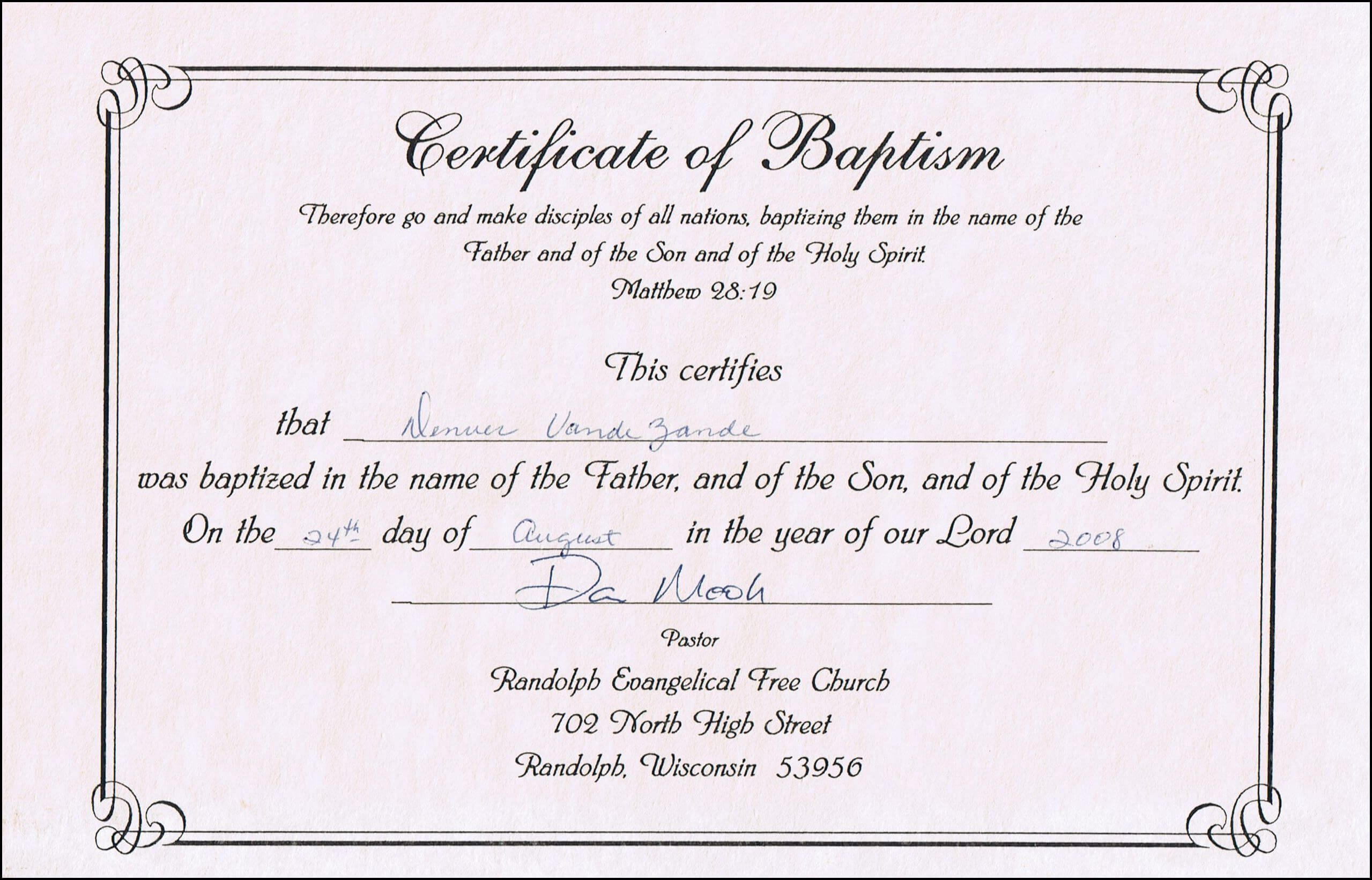 Baptism Certificates Free Online | Denver's Certificate Of intended for Baby Death Certificate Template