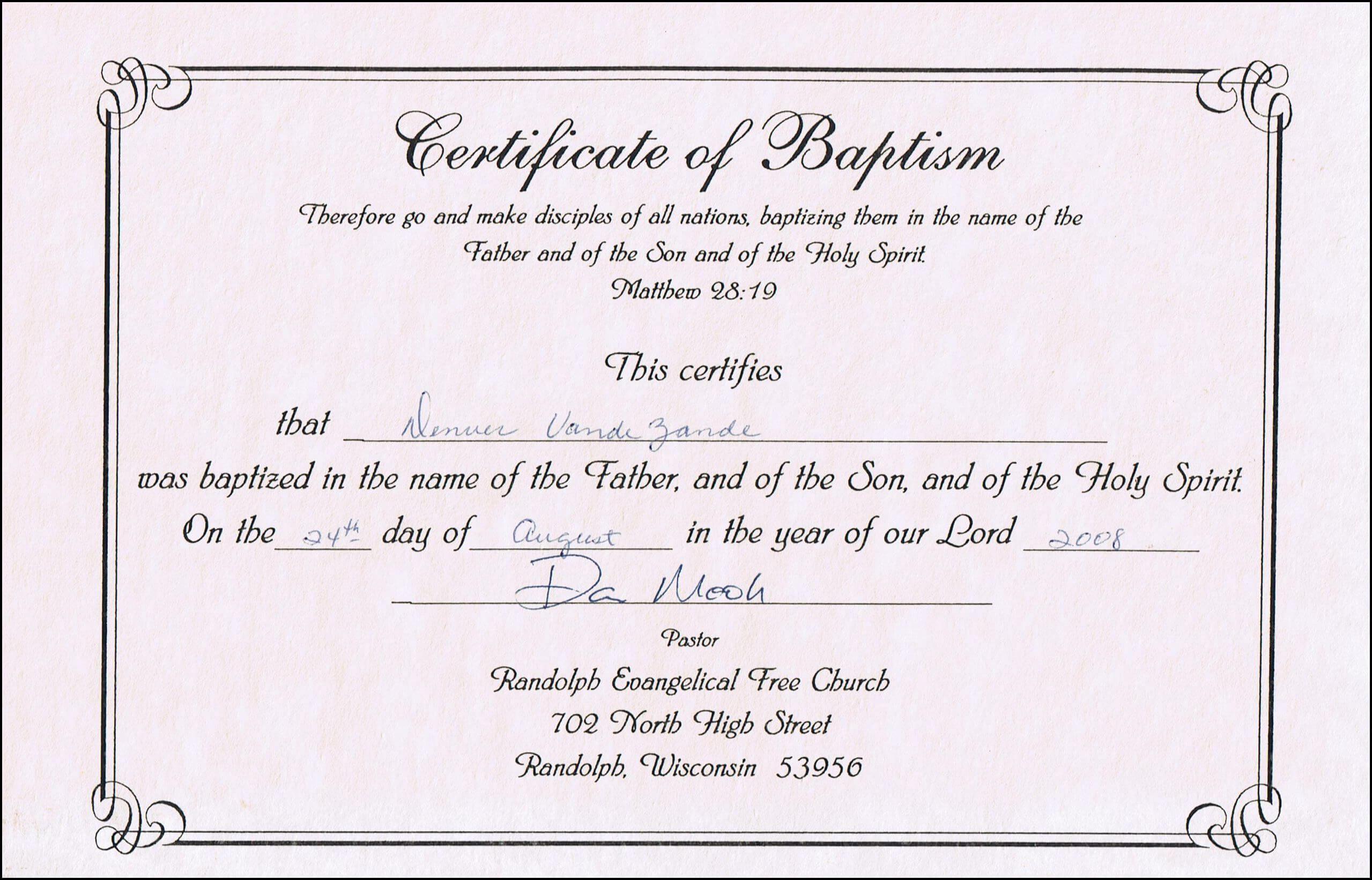Baptism Certificates Free Online | Denver's Certificate Of Throughout Baptism Certificate Template Word