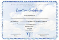 Baptismal Certificate Templates Printable Water Baptism with Baptism Certificate Template Download