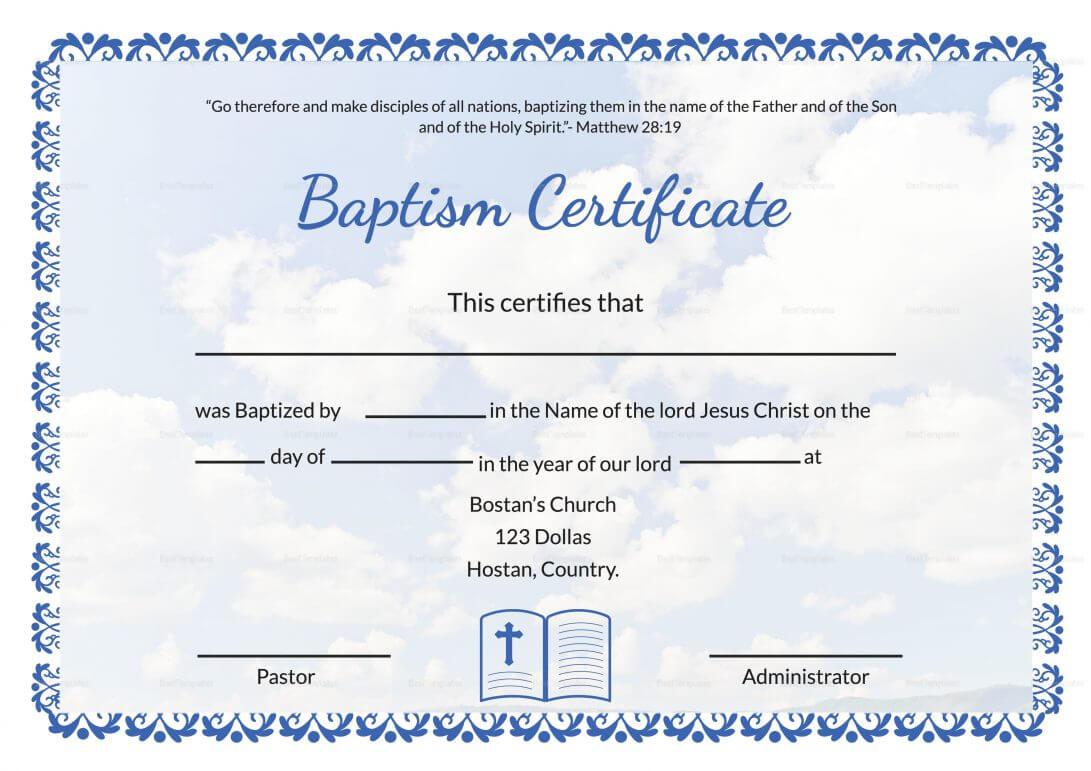 Baptismal Certificate Templates Printable Water Baptism With Baptism Certificate Template Download