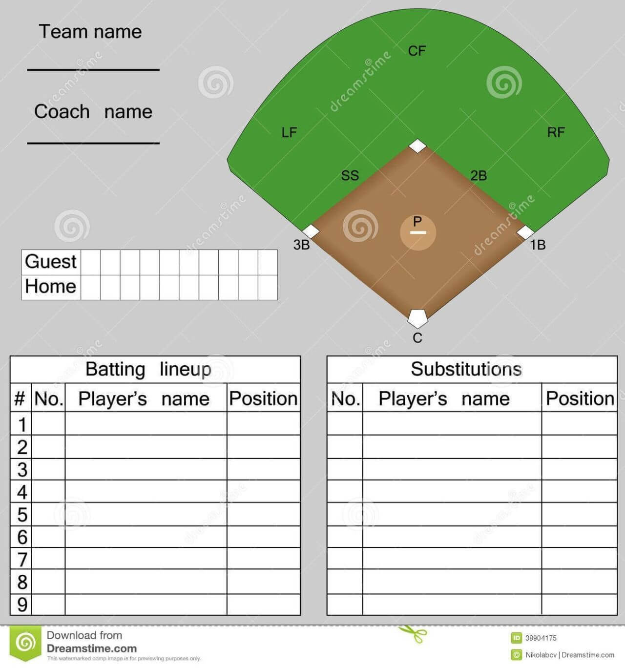 Baseball Lineup Card Template – Free Download | Baseball Inside Dugout Lineup Card Template