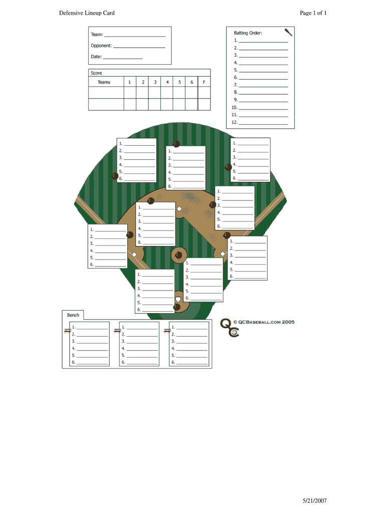 Baseball Lineup Template Fillable - Fill Online, Printable for Softball Lineup Card Template