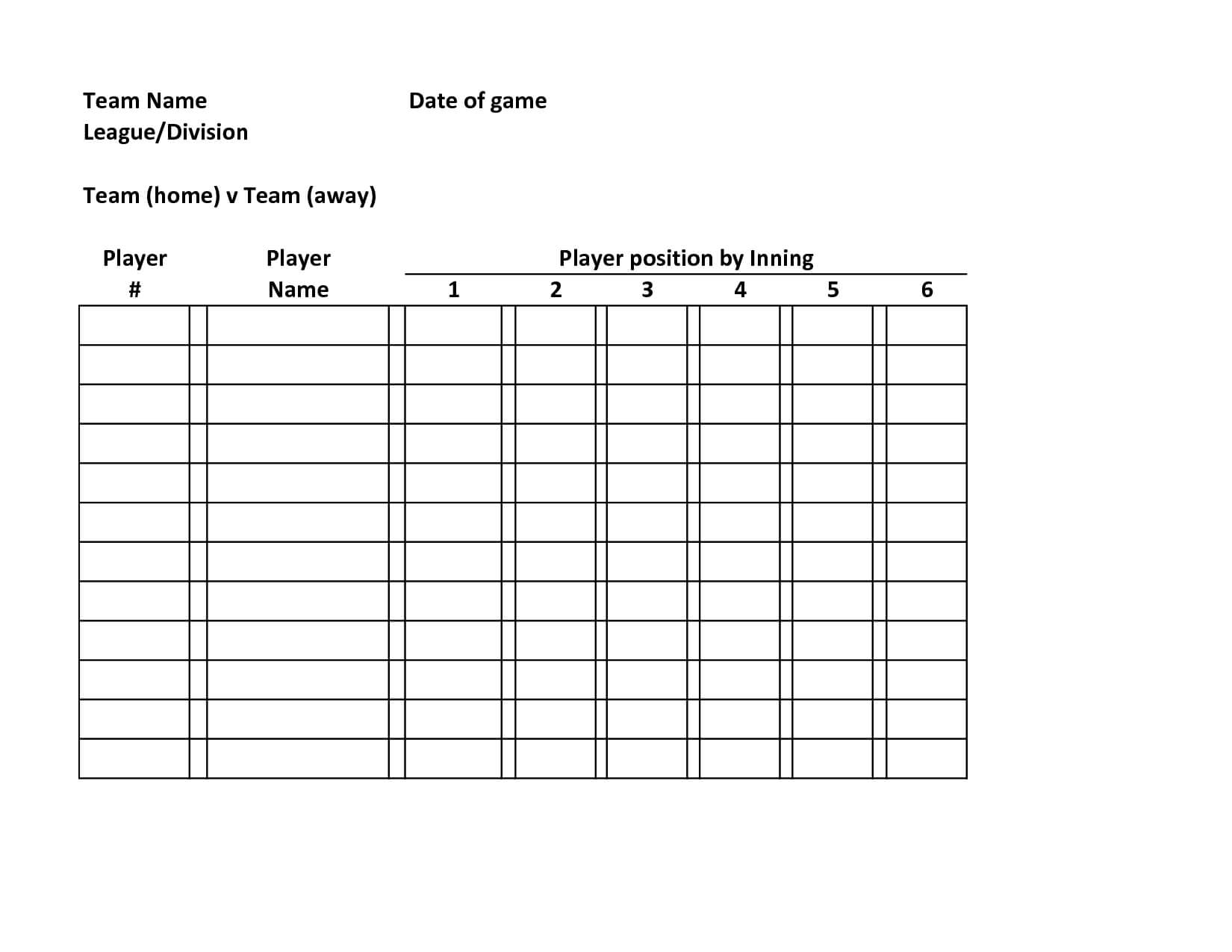 Baseball+Team+Roster+Template | Baseball Lineup, Football within Softball Lineup Card Template