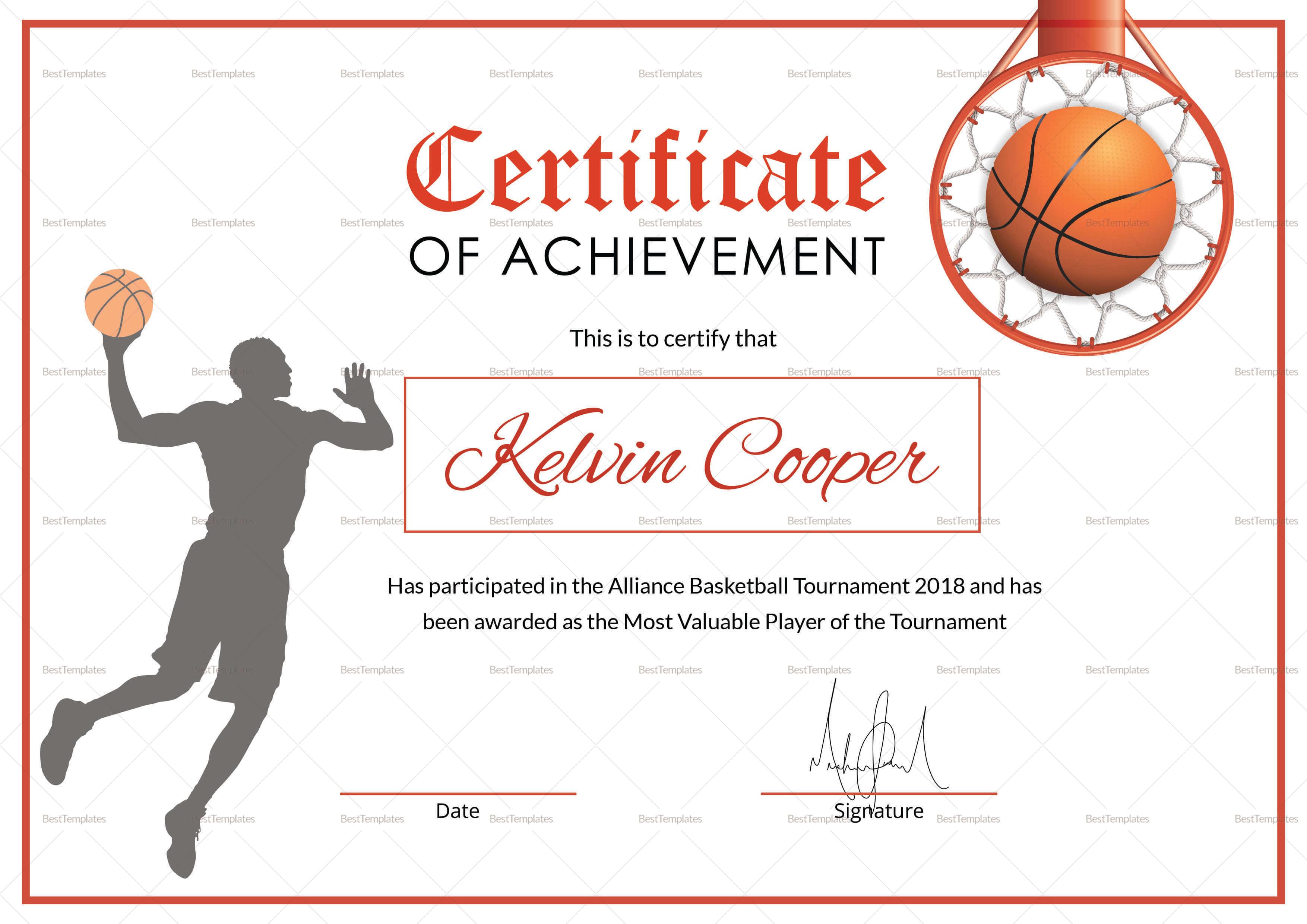Basketball Award Achievement Certificate Template Intended For Sports Award Certificate Template Word