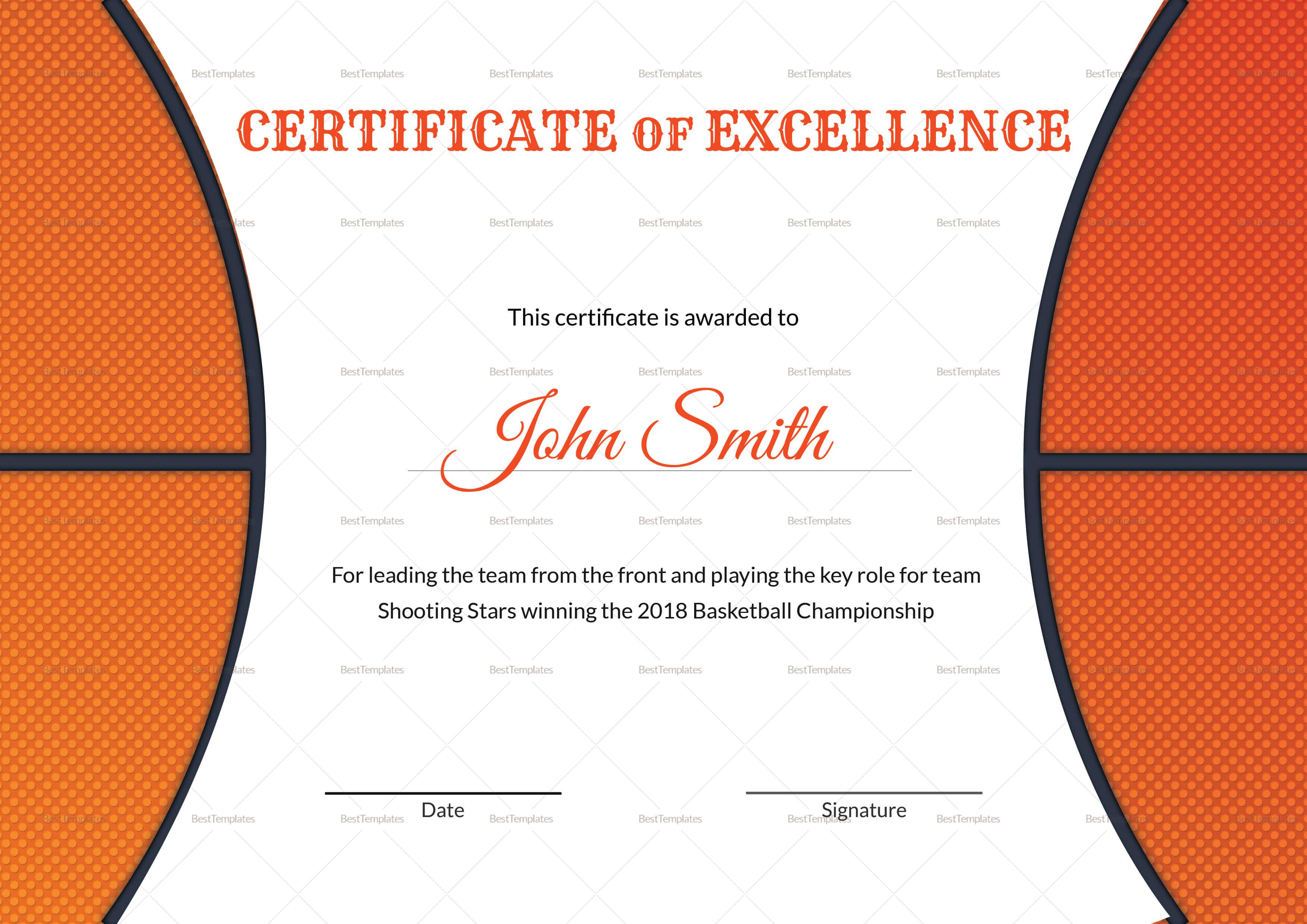 Basketball Award Certificates - Yupar.magdalene-Project inside Basketball Camp Certificate Template
