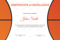 Basketball Excellence Award Certificate Template inside Basketball Certificate Template
