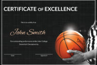 Basketball Excellence Certificate Template with regard to Basketball Certificate Template