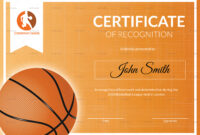 Basketball Recognition Certificate Template intended for Basketball Certificate Template