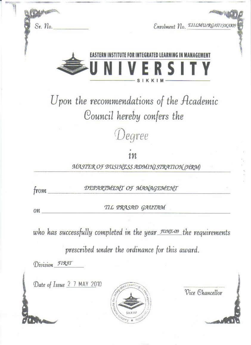 Bcom Certificate Format Sample Eiilm University Degree 2019 throughout University Graduation Certificate Template
