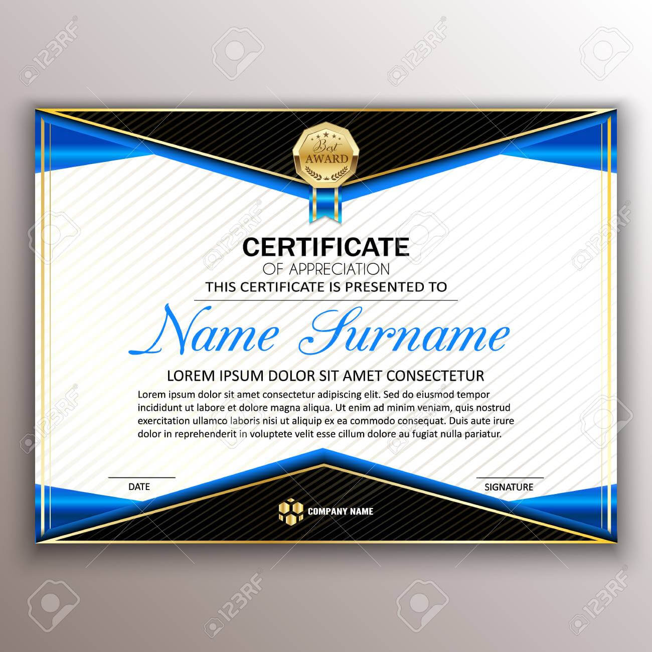 Beautiful Certificate Template Design With Best Award Symbol.. Inside Beautiful Certificate Templates