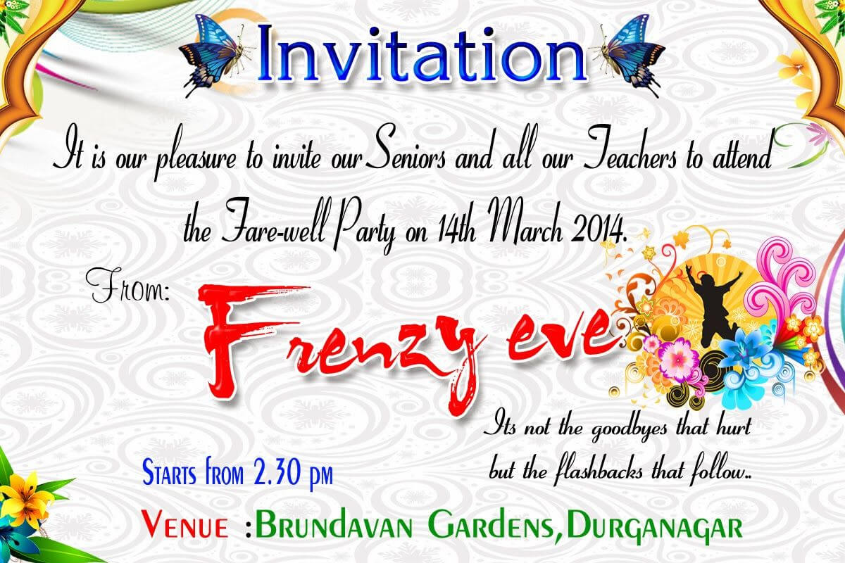 Beautiful Surprise Party Invitation Template Accordingly With Farewell Card Template Word