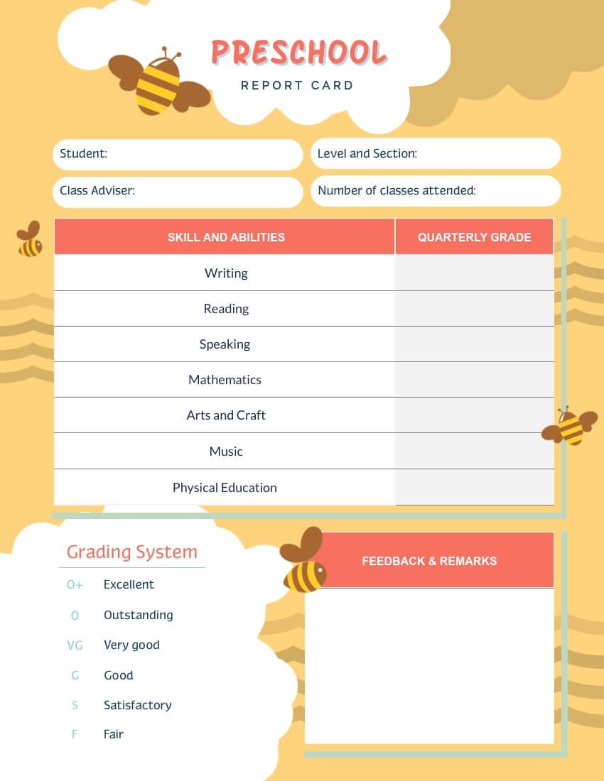 Bee Preschool Report Card Template - Visme in Preschool Weekly Report Template