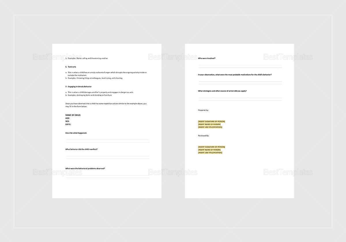 Behaviour Incident Report Template With Regard To Behaviour Report Template