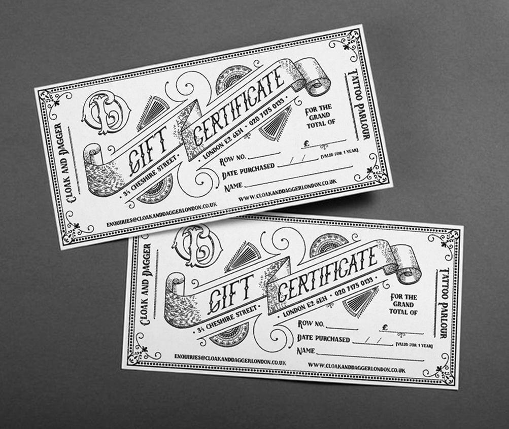 Bespoke, Hand-Drawn Illustrative Gift Certificates And regarding Tattoo Gift Certificate Template