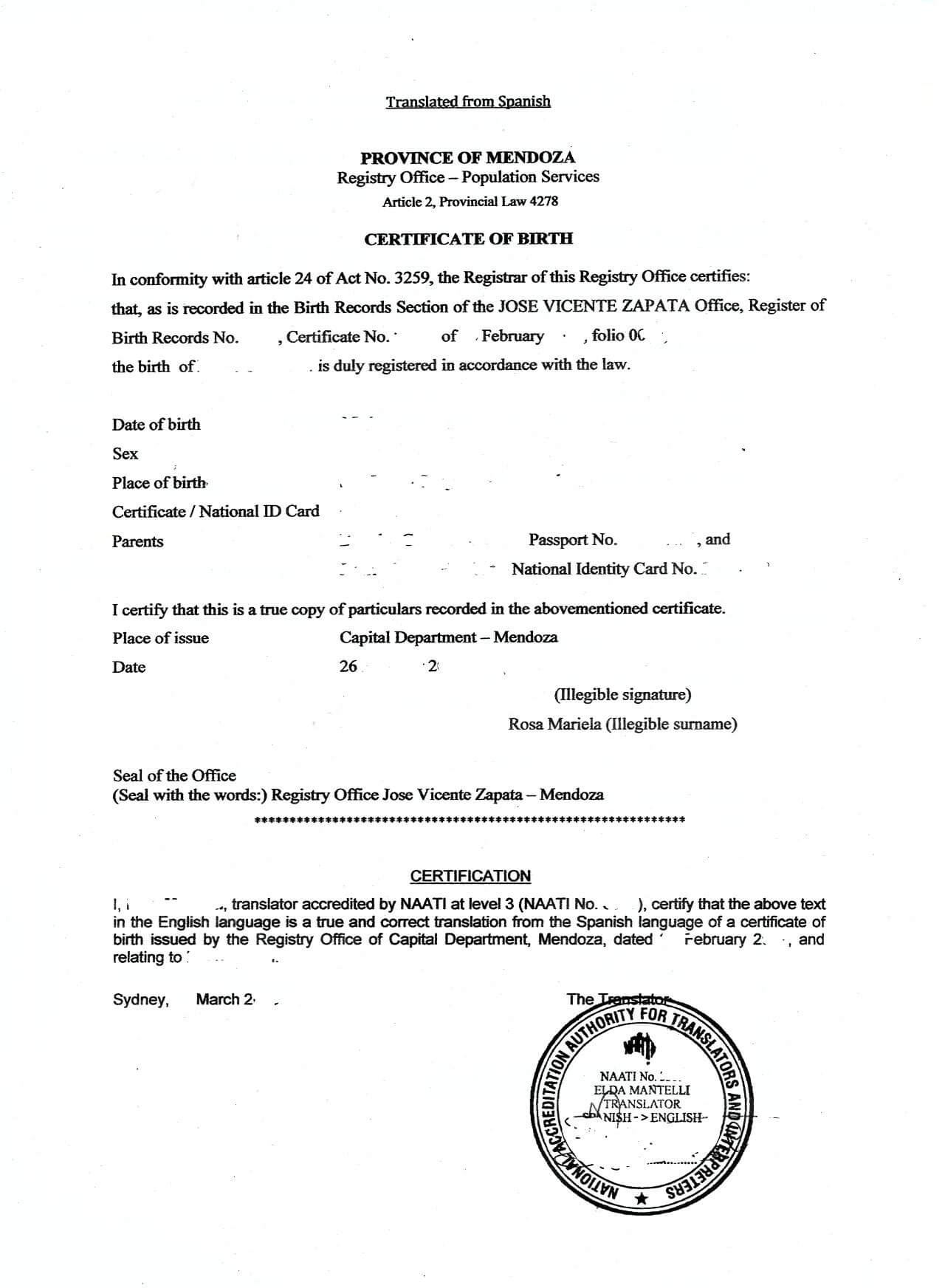 Best Photos Of Birth Certificate Translated Into English with Birth Certificate Translation Template English To Spanish