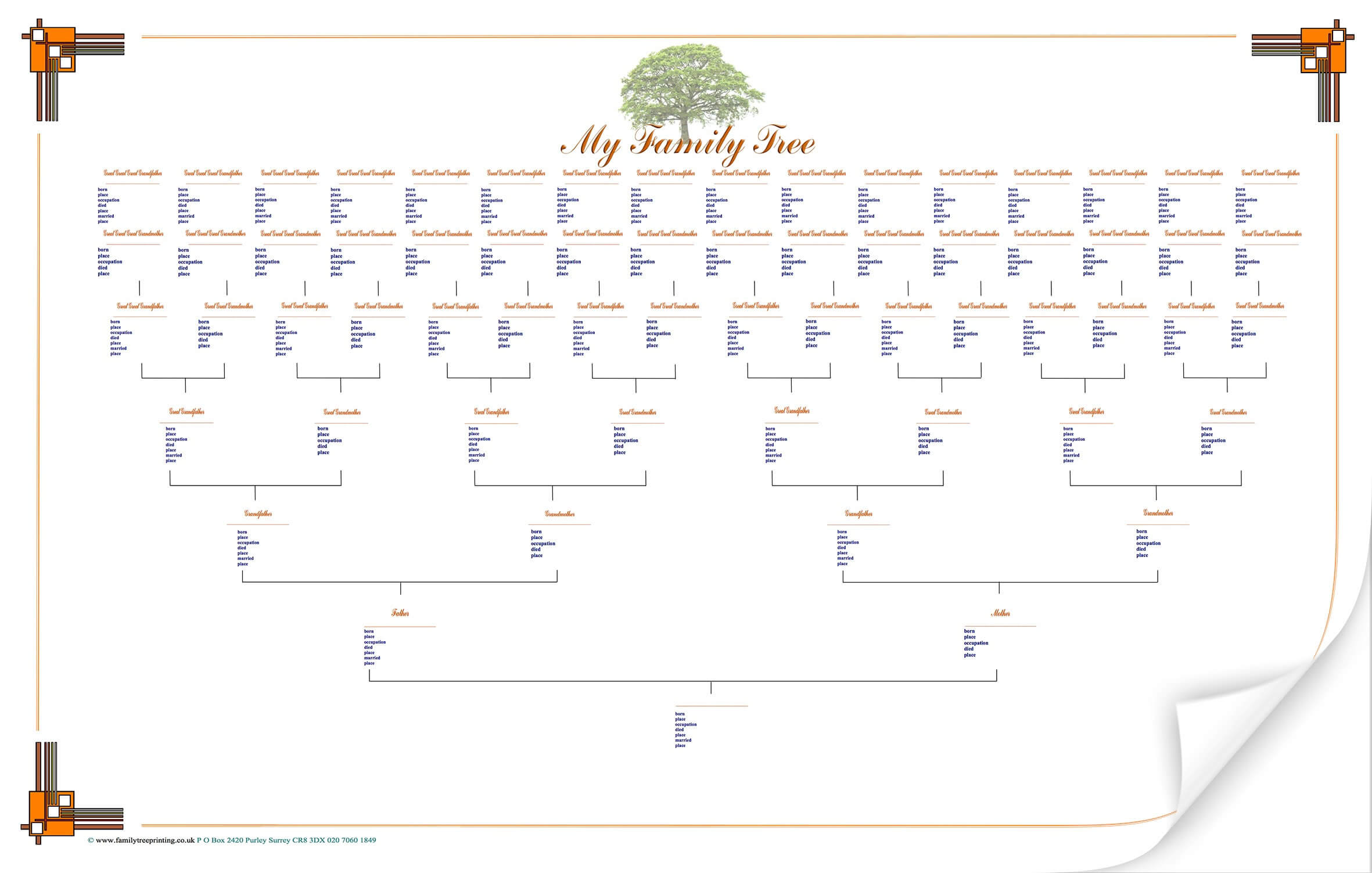 Best Photos Of Blank Family Tree Chart Template - Large within Blank Tree Diagram Template