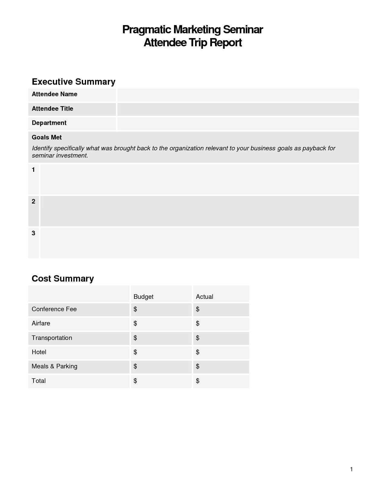 Best Photos Of Business Trip Summary Report Template In Conference Summary Report Template