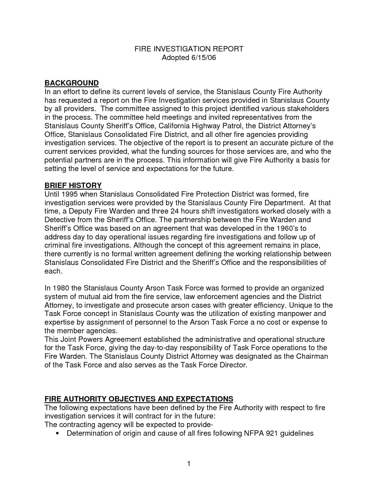 Best Photos Of Investigation Report Template - Sample For Sample Fire Investigation Report Template