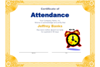 Best Photos Of Microsoft Certificate Of Attendance for Perfect Attendance Certificate Free Template