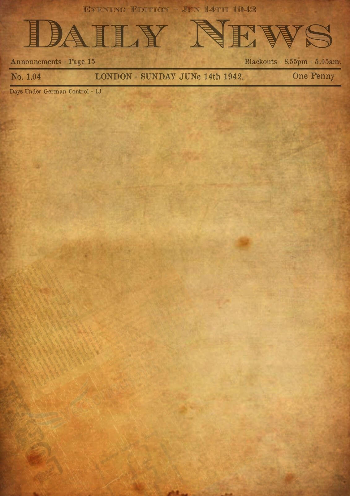 Best Photos Of Old Newspaper Template - Editable Old Regarding Old Blank Newspaper Template