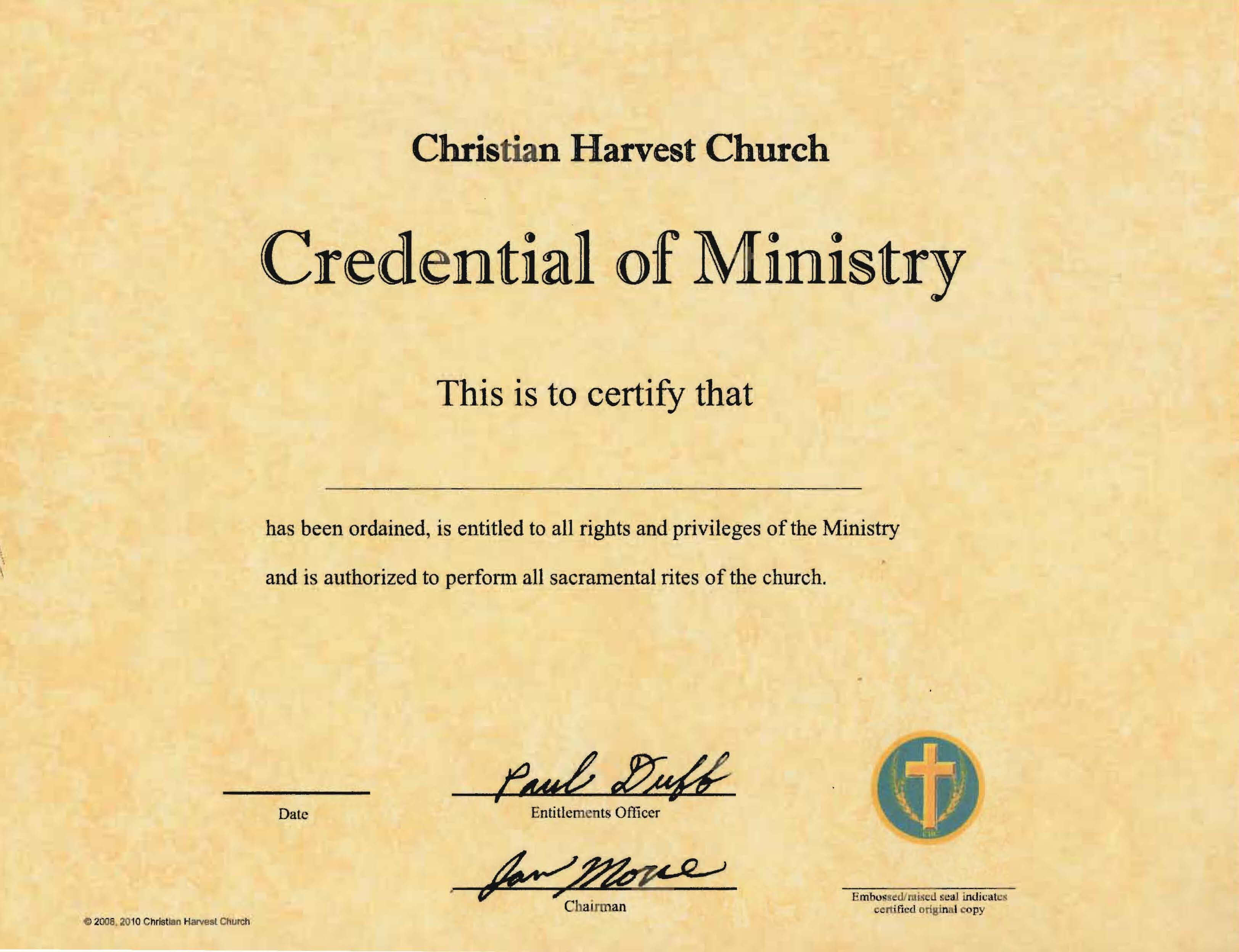 Best Photos Of Ordination Papers Template - Bishop for Certificate Of Ordination Template