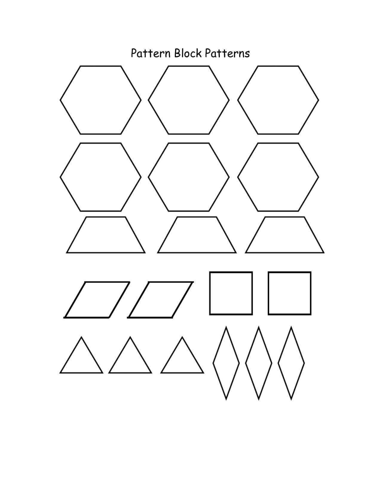 Best Photos Of Pattern Blocks Template Printables - Pattern Inside Blank Pattern Block Templates