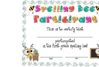 Best Photos Of Spelling Bee Award Certificate Template With Spelling Bee Award Certificate Template
