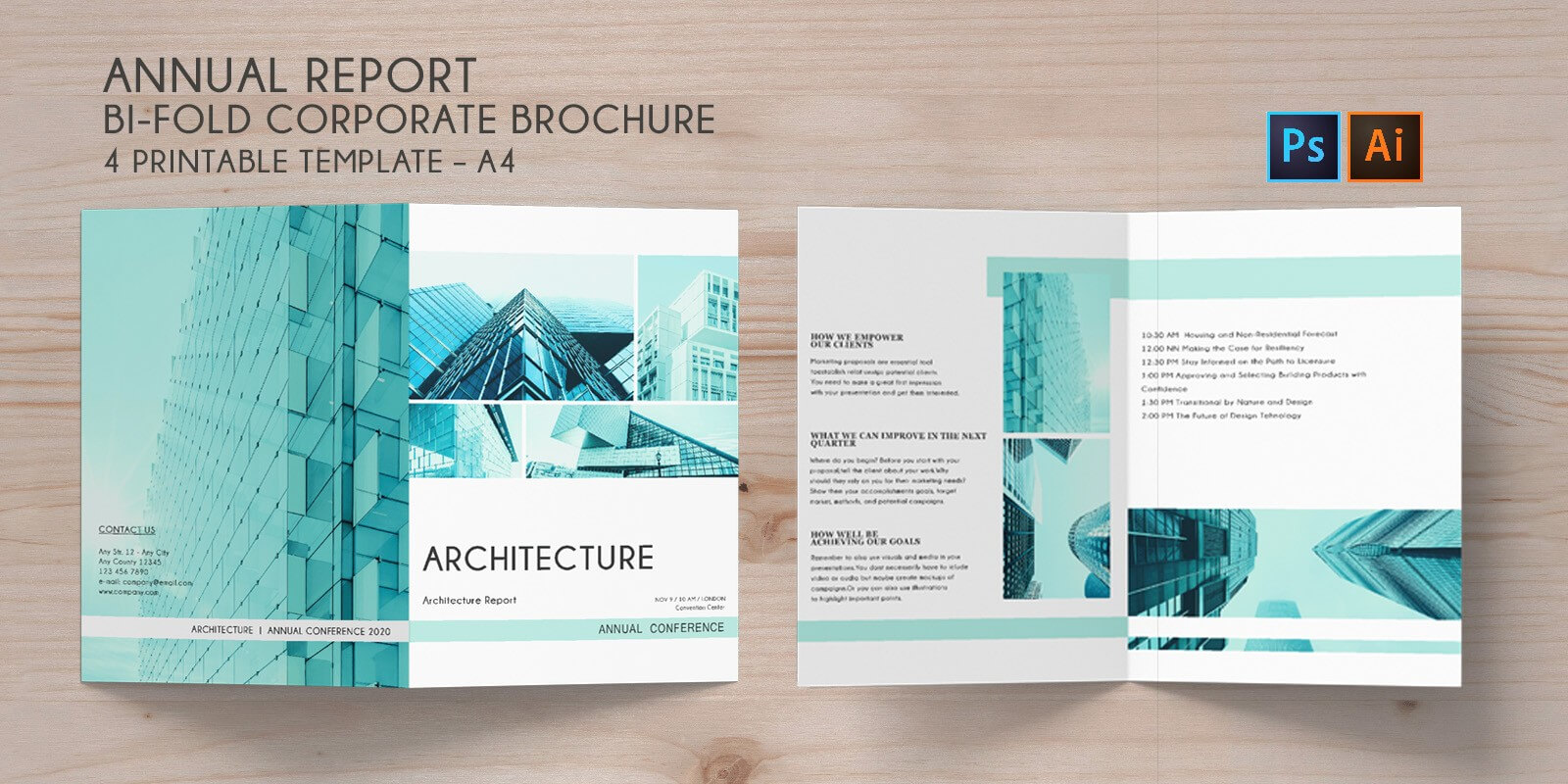 Bi-Fold Brochure Annual Conference - 4 Template in Brochure 4 Fold Template