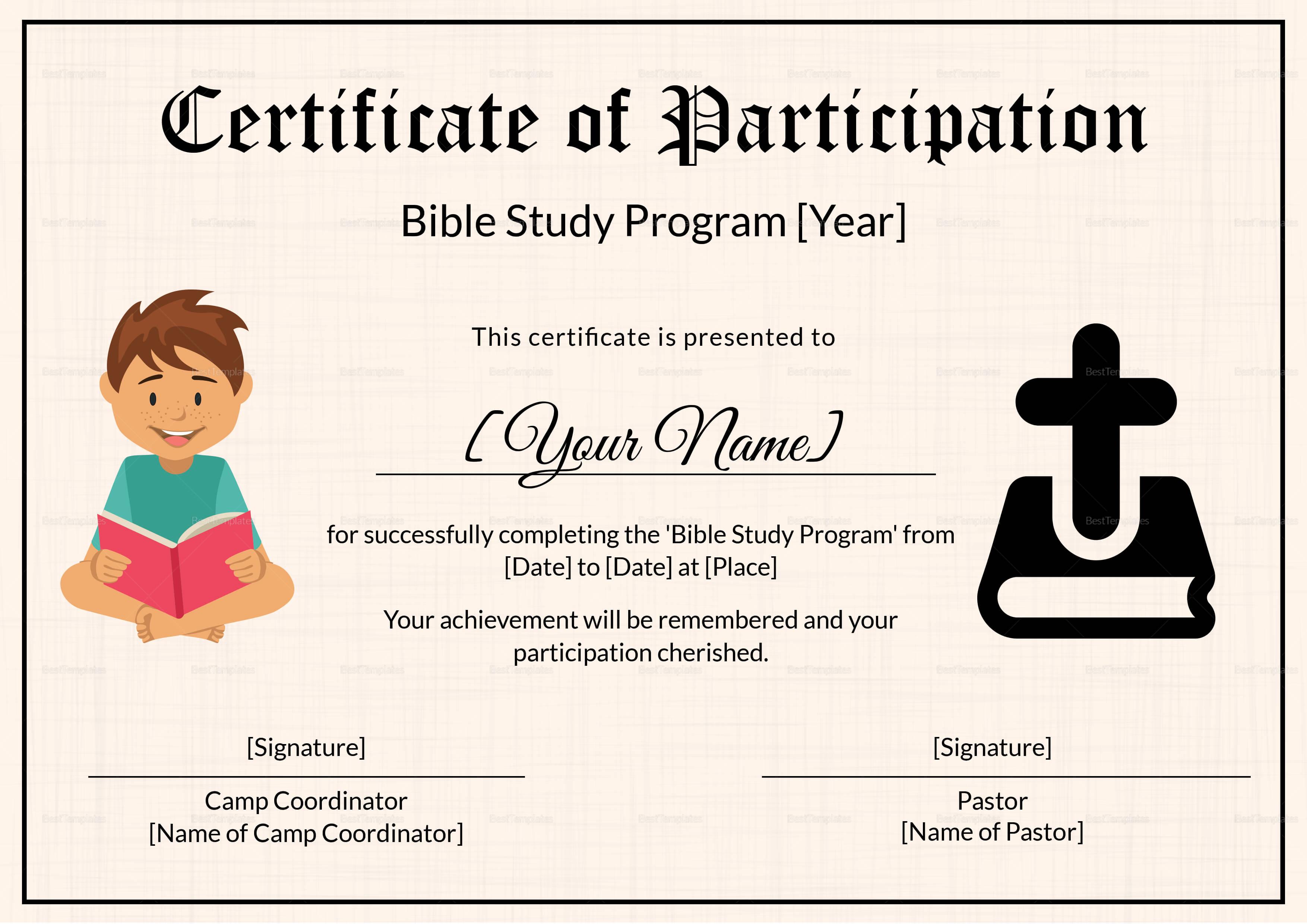 Bible Prophecy Program Certificate For Kids Template Regarding Christian Certificate Template