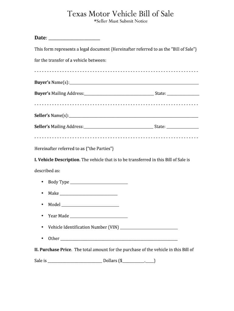 Bill Of Sale Texas - Fill Online, Printable, Fillable, Blank intended for Vehicle Bill Of Sale Template Word