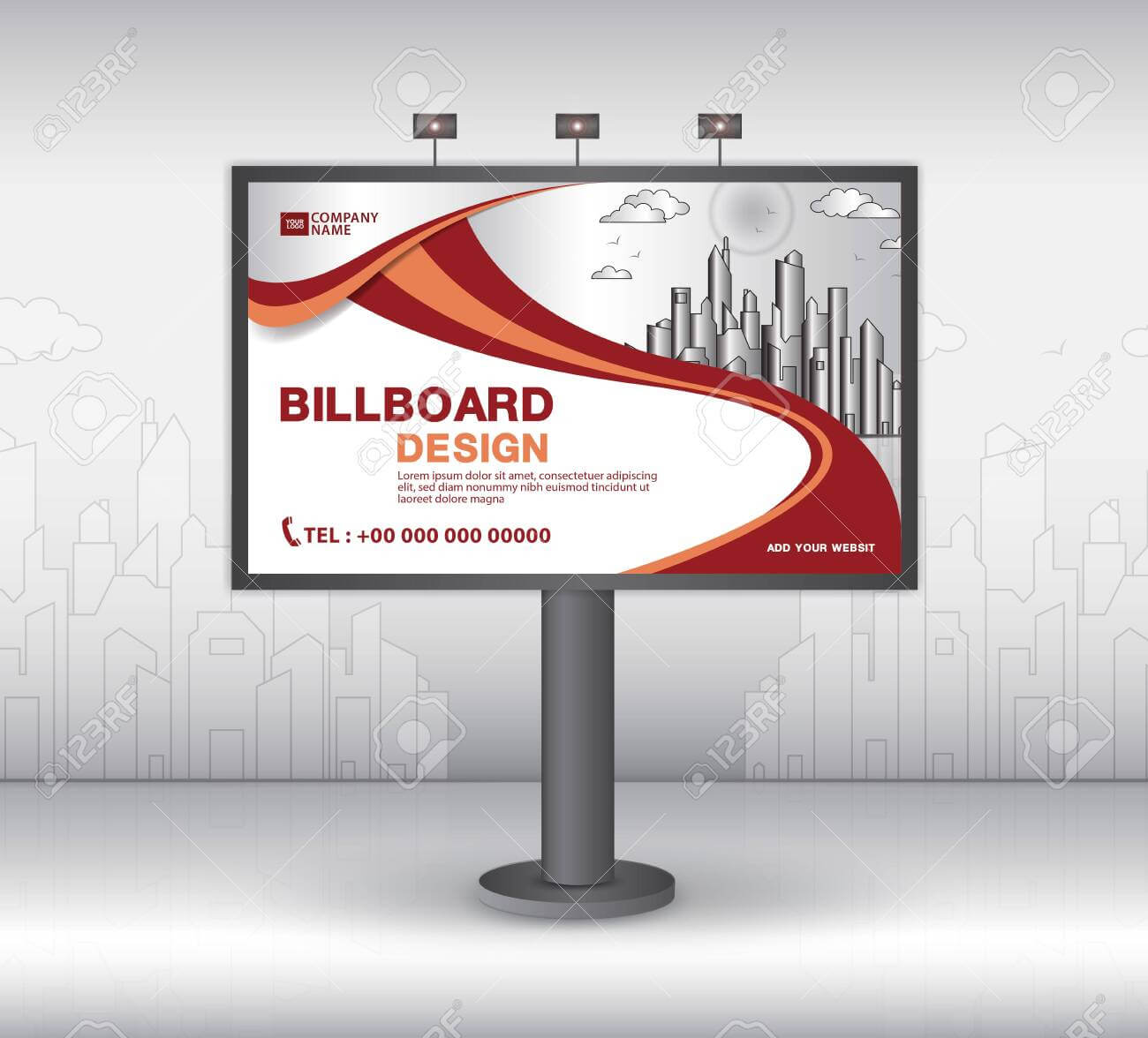 Billboard Banner Template Vector Design, Advertisement, Realistic.. For Outdoor Banner Template