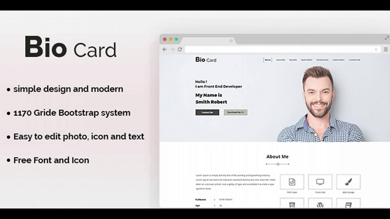 Biocard - Personal Portfolio Psd Template | Themeforest Website Templates  And Themes In Bio Card Template