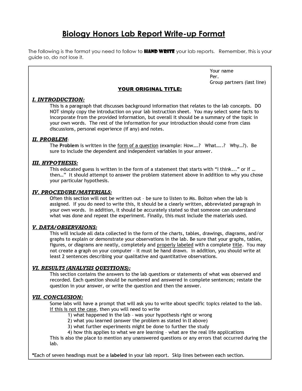 Biology Lab Report Format Example | Science Writing intended for Lab Report Conclusion Template