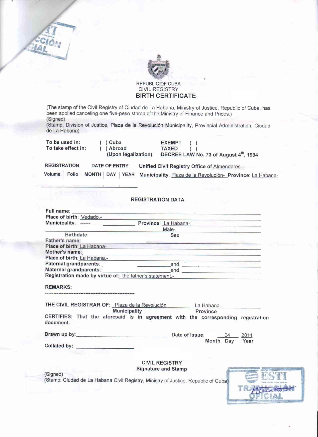 Birth Certificate Cuba English Translation Sample | Diigo Groups within Birth Certificate Translation Template English To Spanish