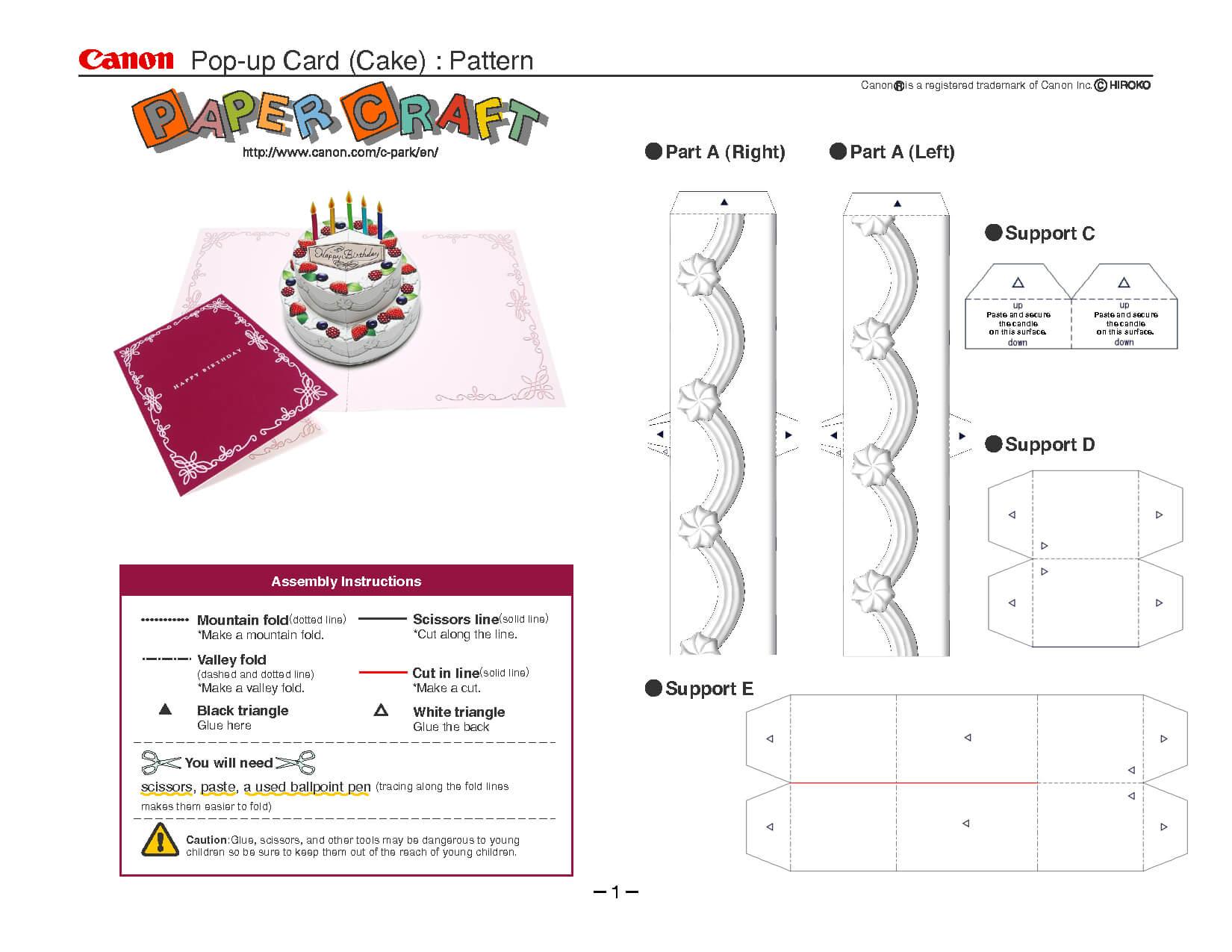 Birthday Cake Pop Up Card Template | Pop Up Card Templates With Printable Pop Up Card Templates Free
