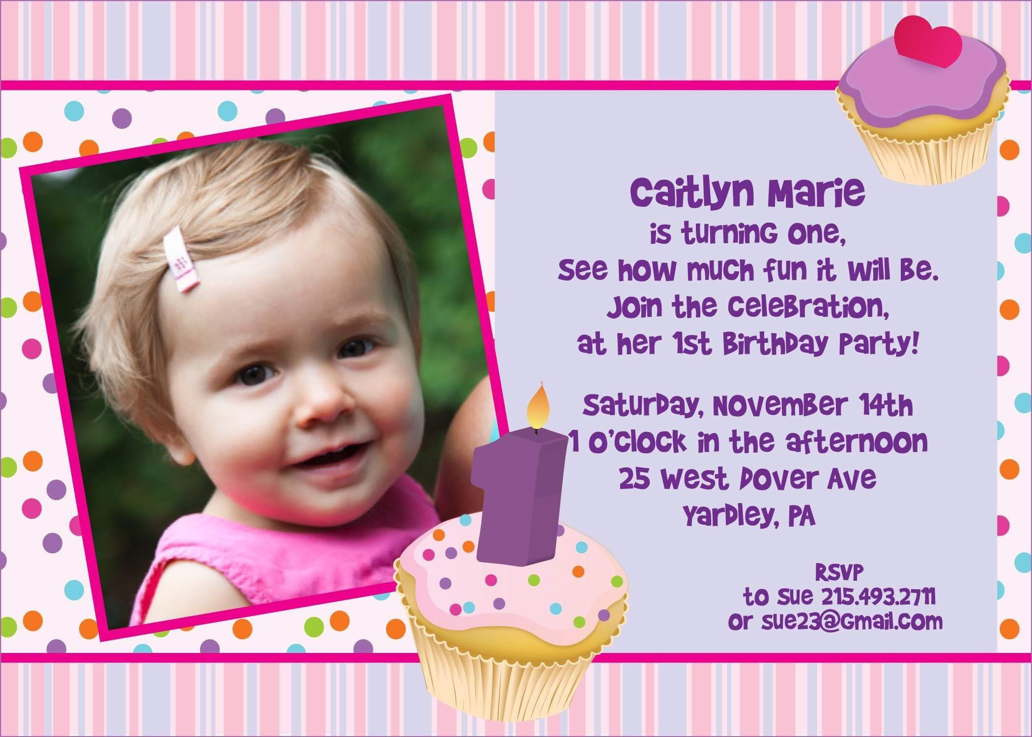 Birthday Card Invitation Sample | Theveliger within First Birthday Invitation Card Template