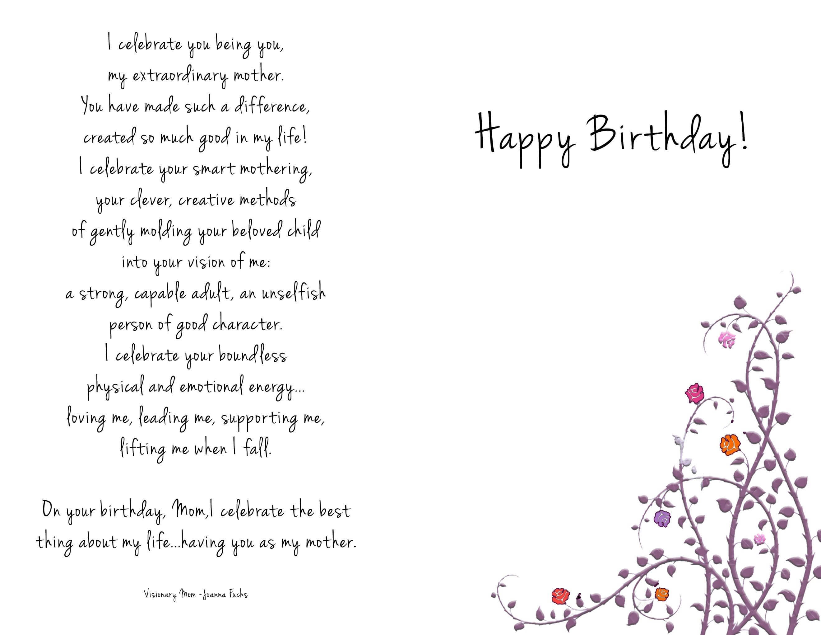 Birthday Cards Templates Collections Mom Birthday Card pertaining to Mom Birthday Card Template
